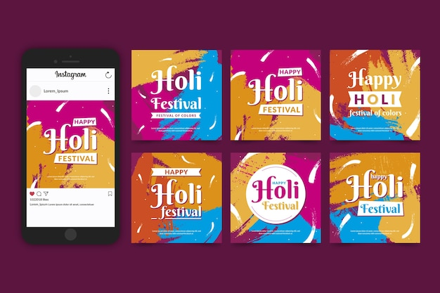 Holi festival instagram post collection Free Vector