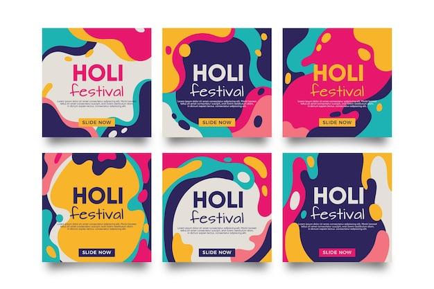 Holi festival instagram posts 무료 벡터