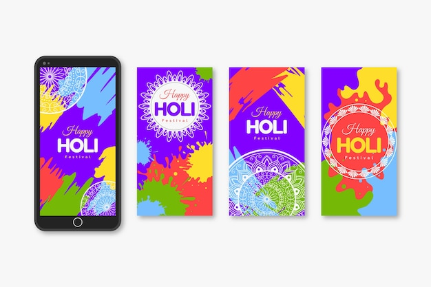 Holi festival instagram stories collection Free Vector