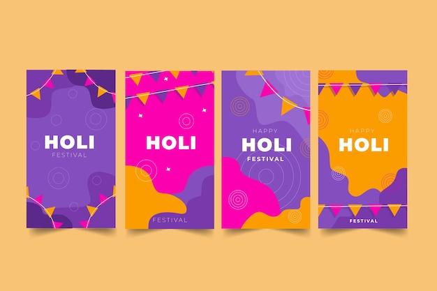 Holi 축제 instagram 이야기 모음 무료 벡터