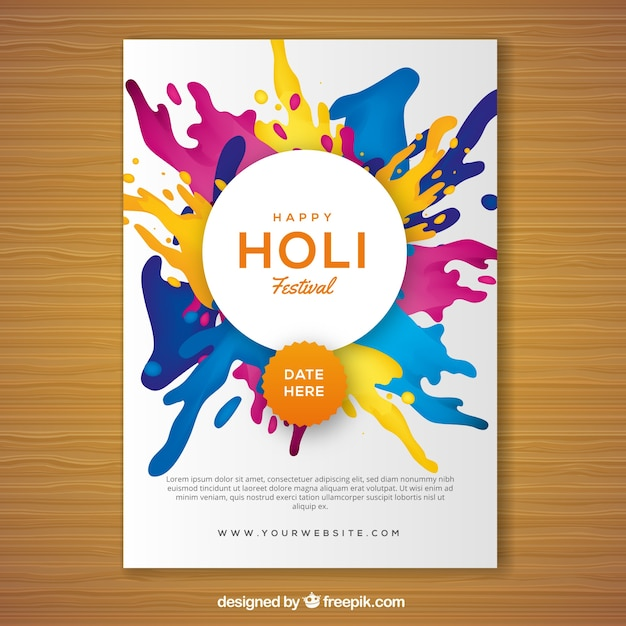 Holi Festival Party Flyer In Realistic Design Vector  Free Download