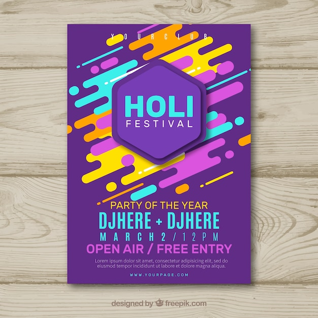 Holi festival party flyer Free Vector