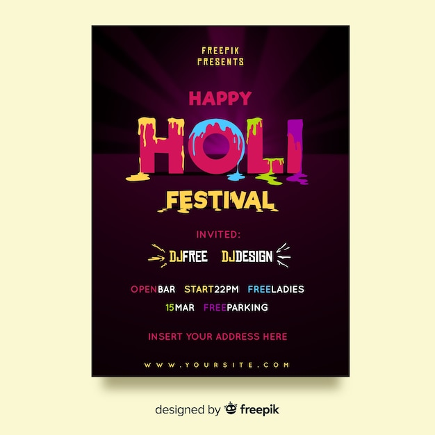 Holi festival party poster Free Vector