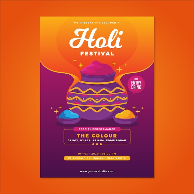 Holi festival poster template in flat design Free Vector