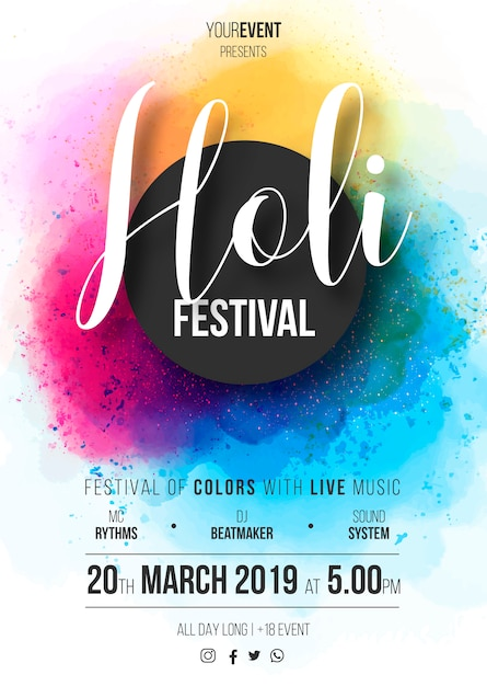 Holi festival poster template ready to print Vector | Free Download