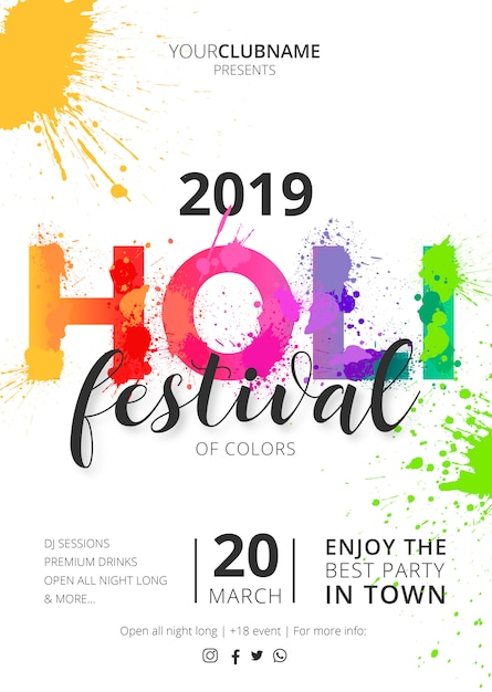 Holi festival poster template ready to print Free Vector