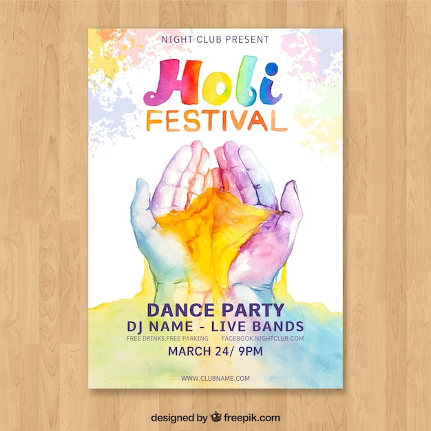 Holi festival poster template with hands Free Vector