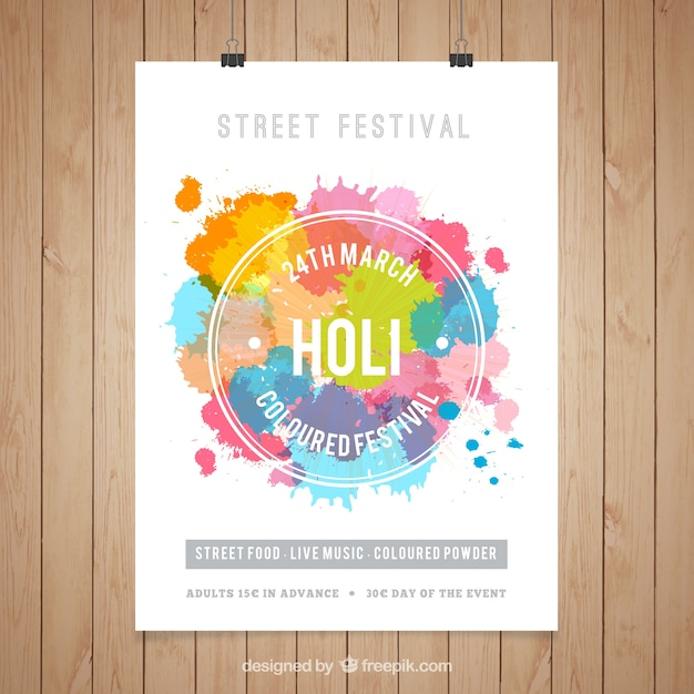 Holi Festival Poster Template Vector Free Download