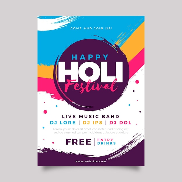 Holi festival poster template Free Vector