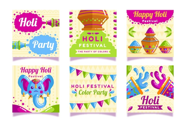 Тема фестиваля холи для коллекции постов instagram Бесплатные векторы