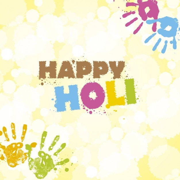 Holi greeting card with hand prints vector free download holi greeting card with hand prints free vector m4hsunfo