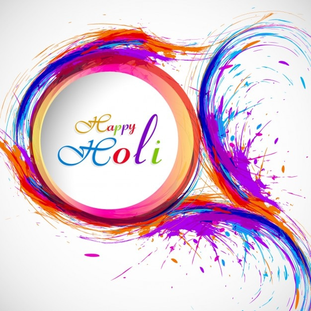 Holi greeting with circular shape Free Vector
