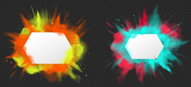 Холи краска порошок цвета взрыв реалистично Бесплатные векторы