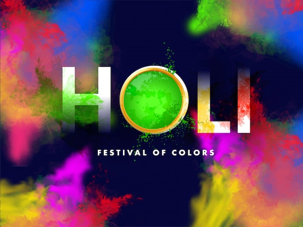 Holi text with top view mud pot full of powder and color splash effect Premium Vector