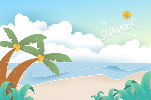 Holiday background with beautiful sea, sand, palm, sun and clouds on pastel color background. Premium Vector