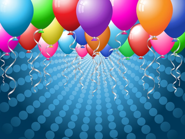 Holiday background with brightly coloured balloons Free Vector