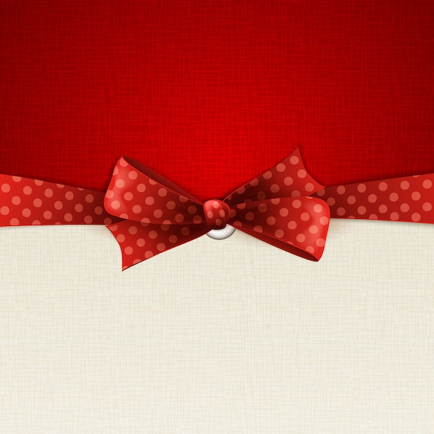 Holiday background with red polka dots bow Premium Vector