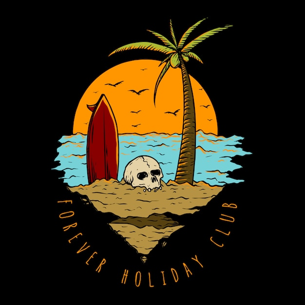 Holiday in the beach Premium Vector