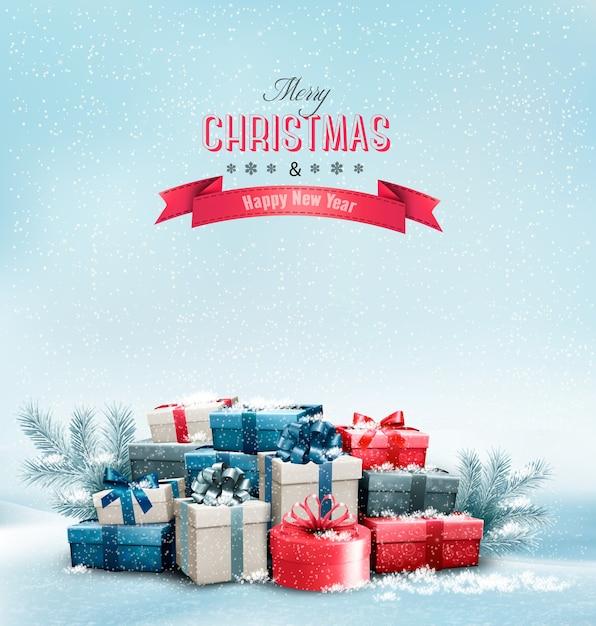 ギフトボックスと休日のクリスマスの背景。 Premiumベクター