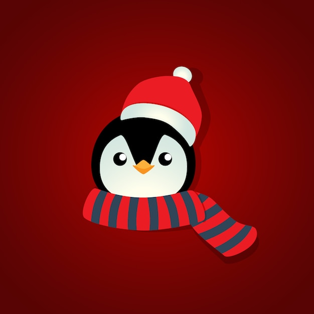 Holiday christmas background with penguin cartoon. vector illustration Premium Vector