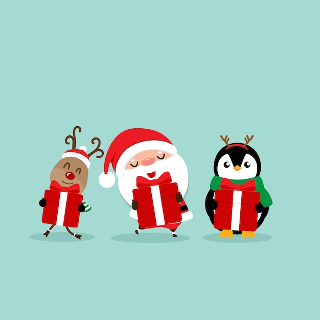 Holiday christmas greeting card with santa claus, reindeer and penguin cartoon. vector illustration Premium Vector