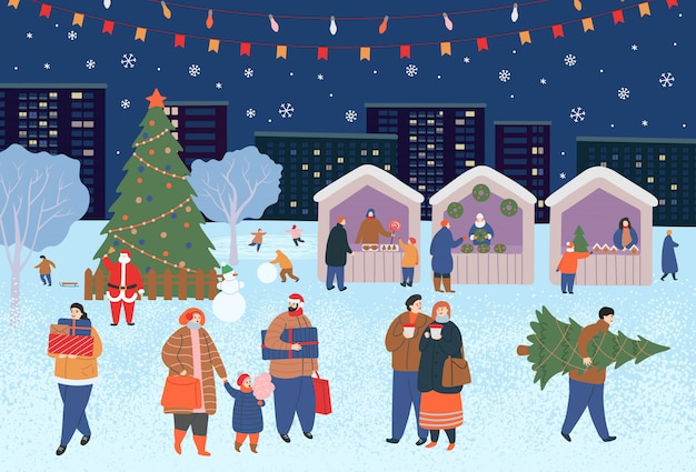 Holiday fair, christmas in the park. big set of people in winter. people walking, buying gifts, drinking coffee, skating, skiing, making a snowman, walking dogs.  flat cartoon vector illustration. Premium Vector