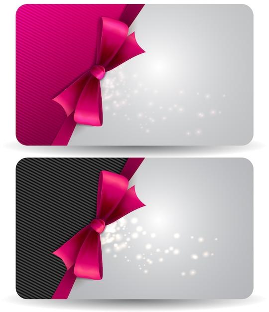 Подарочная карта к празднику с розовыми лентами и бантом. иллюстрация. Premium векторы