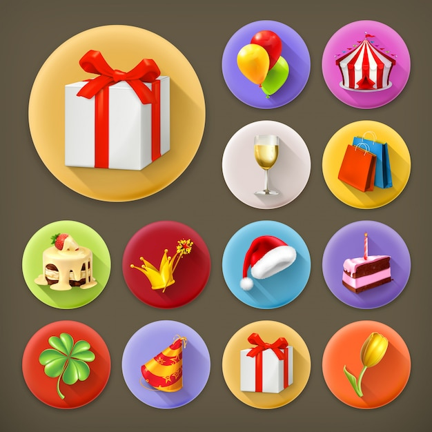 Holiday and gifts, long shadow icon set Premium Vector