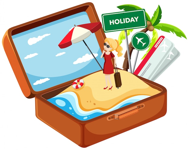 Holiday girl in suitcase Free Vector