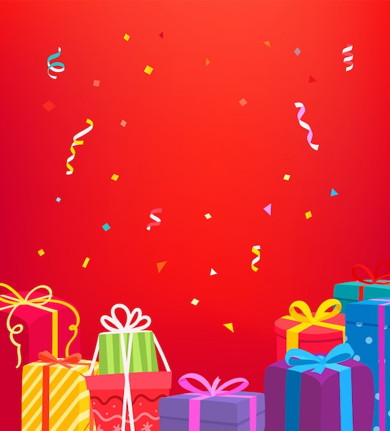 Holiday greeting card. vector concept with gift boxes Premium Vector