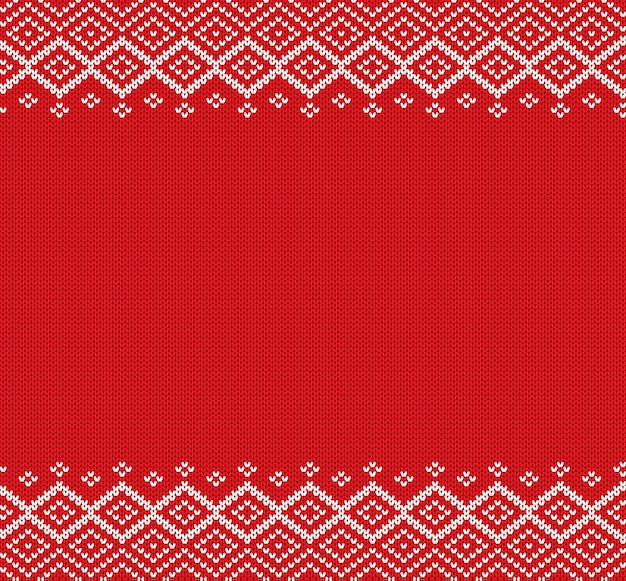 Holiday knitted geometric ornament knit christmas winter sweater design. Premium Vector