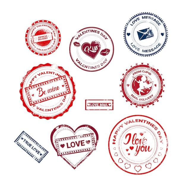 バレンタインデーギフトカードholiday loveステッカースタンプコレクション Premiumベクター