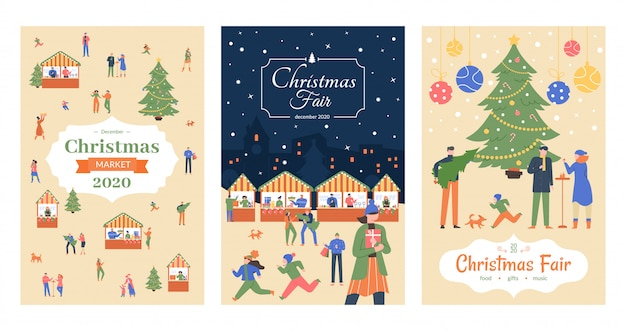 ホリデーマーケットのチラシ。クリスマスフェアのポスター、12月の市場の休日の招待状、商店街のクリスマス装飾屋外露店イラストポスターセット。新年まつり発表 Premiumベクター