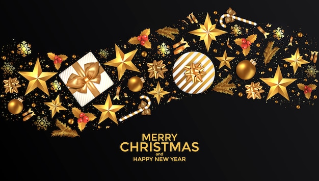 Holiday new year card Premium Vector