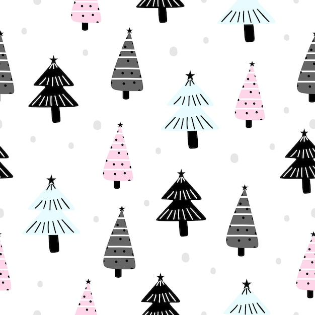 Holiday pattern for christmas with trendy tree drawing Premium Vector