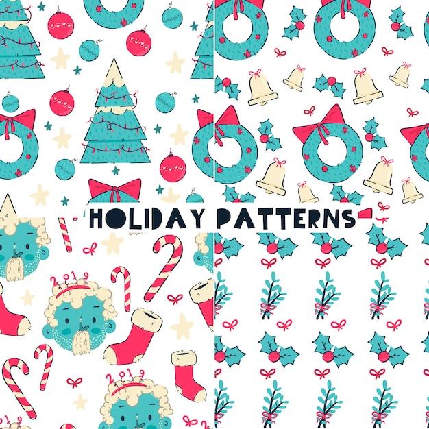 Holiday patterns Premium Vector