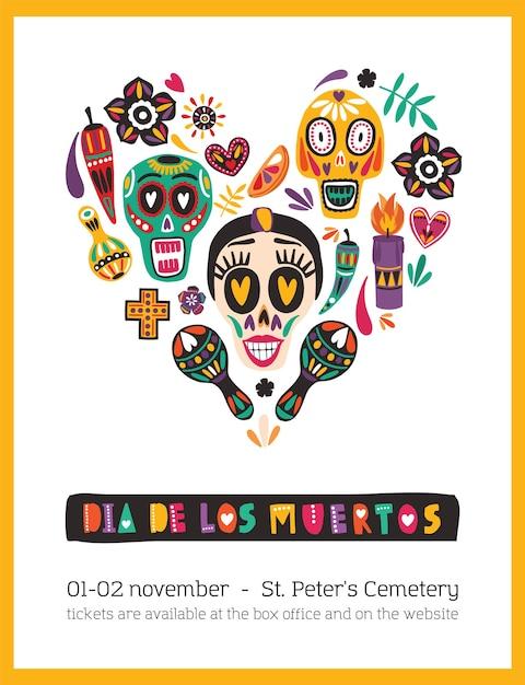 Шаблон праздничного плаката, украшенный мексиканскими калаверами или черепами, свечами, маракасами, цветами, расположенными в сердце Premium векторы