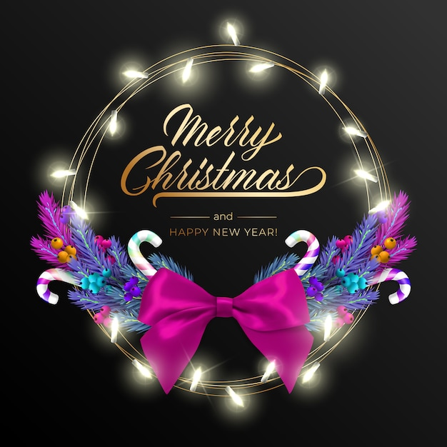 Holiday's background for merry christmas greeting card with a realistic colorful wreath  pine tree branches, decorated with christmas lights, gold stars, snowflakes Premium Vector