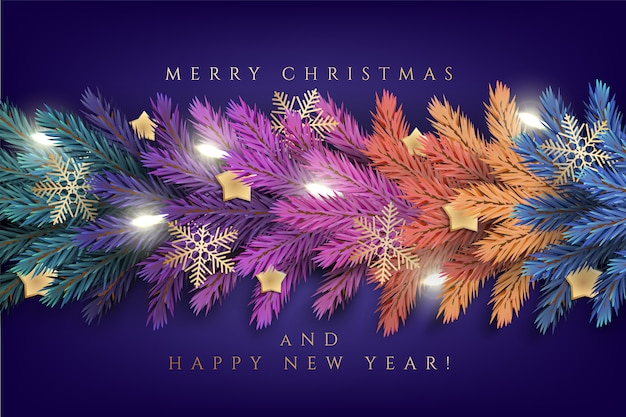 Holiday's  for merry christmas greeting card with a realistic colorful garland of pine tree branches, decorated with christmas lights, gold stars, snowflakes Premium Vector