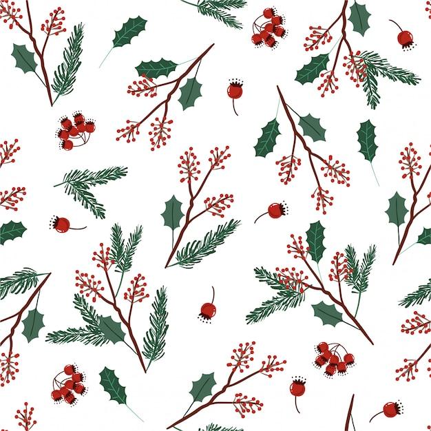 크리스마스를위한 잎과 열매와 휴일 원활한 벡터 녹색과 붉은 색 패턴 프리미엄 벡터