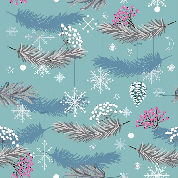 Holiday seamless vector pattern with leaves for christmas Premium Vector