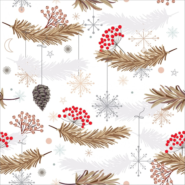 Holiday seamless vector pattern with leaves ,flowers and snow flake Premium Vector