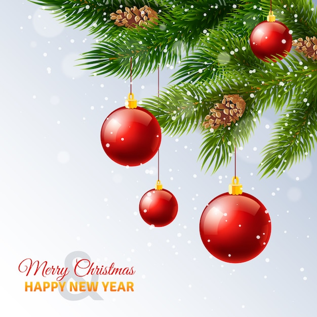 holiday season new year greetings card with decorated christmas tree branches and snow free vector
