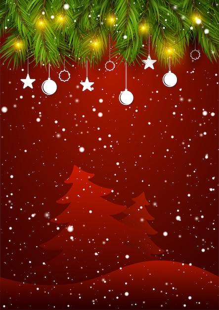 クリスマスツリーの枝と雪が飾られたホリデーシーズン新年のグリーティングカード。 Premiumベクター