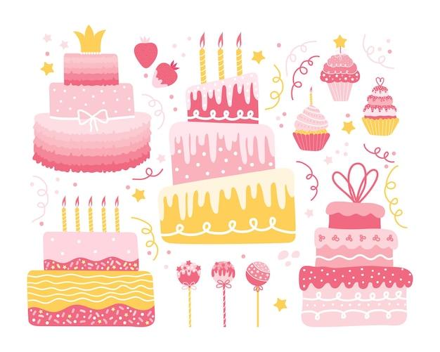 お祭りのデザインのためのさまざまな甘い要素の休日のセット。ケーキ、カップケーキ、マフィン、クリーム入りイチゴ、丸いロリポップのコレクション。誕生日、結婚式、記念日、バレンタインデー Premiumベクター