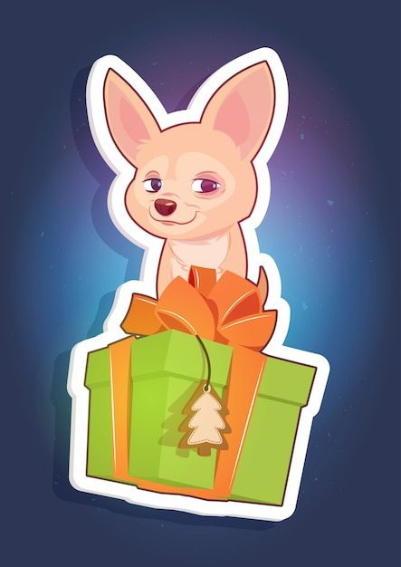Holiday sticker chihuahua dog sitting on present box new year concept Premium Vector