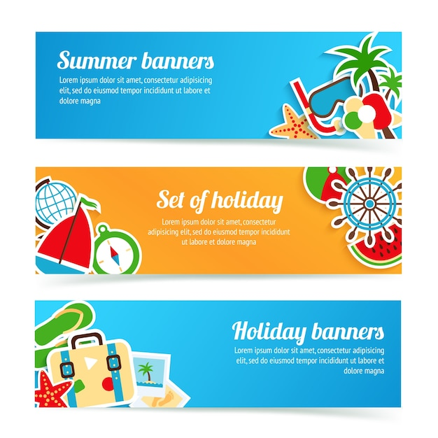 Holiday summer beach vacation tourism banner\ set isolated vector illustration