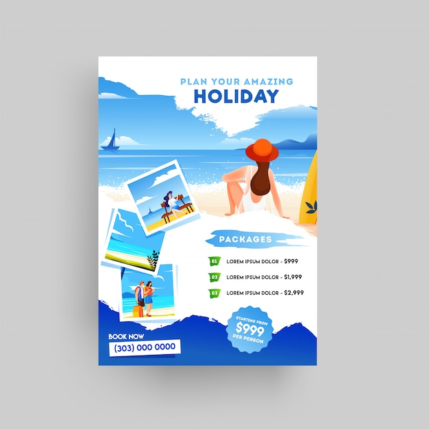 Holiday, summer travel and tourism flyer Premium Vector