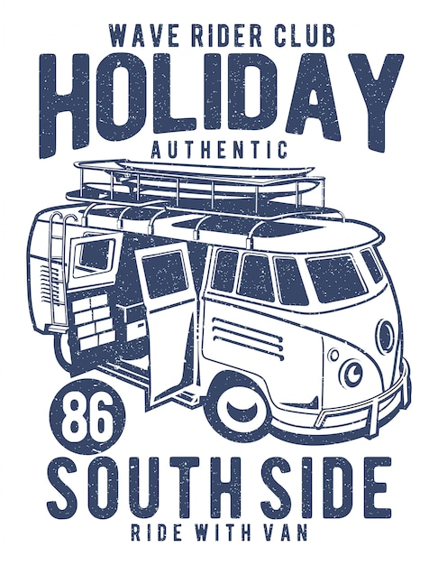 Holiday surf van illustration Premium Vector