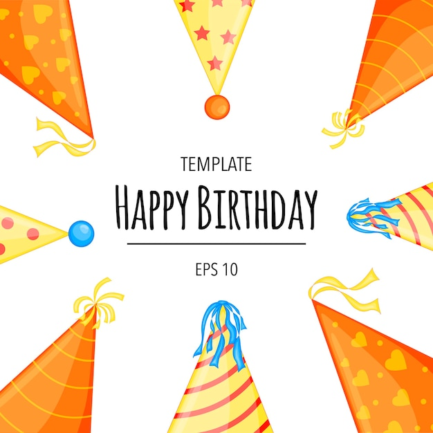 Holiday template for your birthday text with caps. cartoon style. Premium Vector